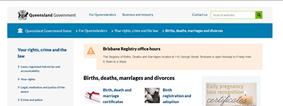 Births, Deaths and Marriages (QLD)